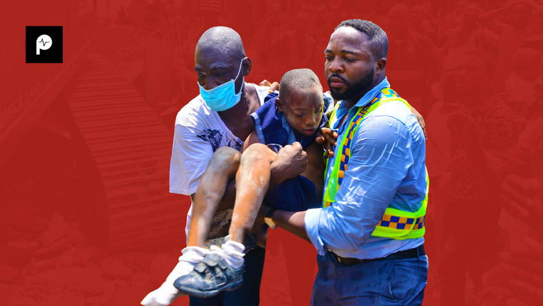It was a case of sorrow, tears and blood at the site of the collapsed building (Pulse)