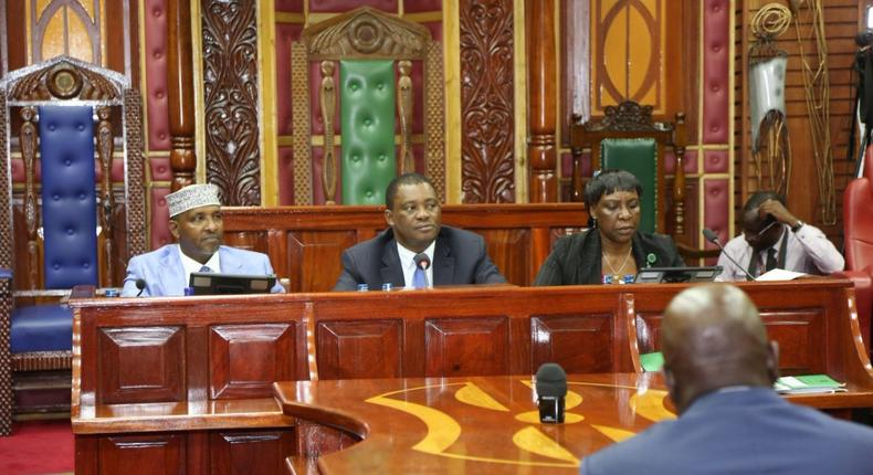 Speaker Justin Muturi with Majority Leader Aden Duale