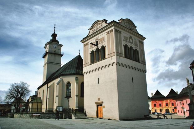 Spiska Sobota - Dzwonnica i kościół Św. Jerzego w Spiskiej Sobocie