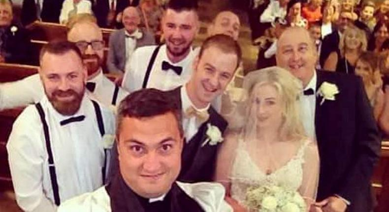 The pastor said: 'We are gathered here today to join these two in holy matrimony but first - let me take a selfie'.