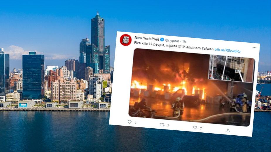 Pożar 13-piętrowego budynku na Tajwanie