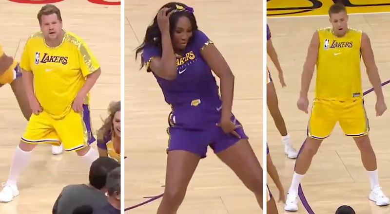 Rob Gronkowski and Venus Williams danced with the Laker Girls in a hilarious bit with James Corden