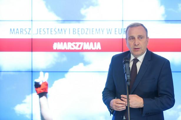 Przewodniczący PO Grzegorz Schetyna podczas konferencji prasowej po posiedzeniu zarządu krajowego PO w Warszawie.