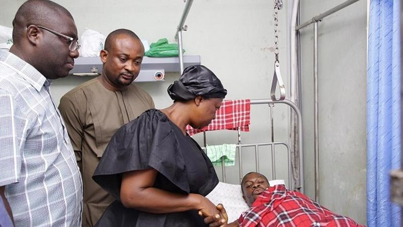 Image result for a photo of visit by Madam lydia Alhassan in the hospital