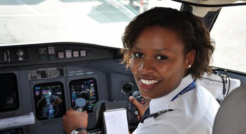 Rwanda first female pilot Esther Mbabazi.