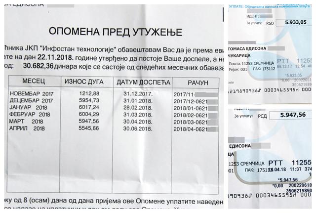 """""""Plaćam već plaćene račune"""": Opomena s primerima plaćenih računa"""