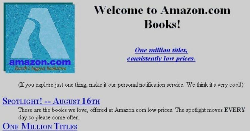 Strona Amazona w 1995 r.