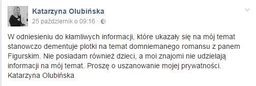 Katarzyna Olubińska - oświadczenie na Facebooku