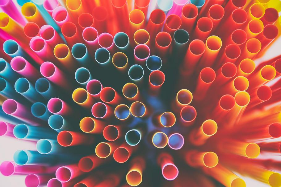 top view image of colorful straws. abstract or party concept