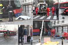 JEZIVA NESREĆA U RESAVSKOJ Automobil prošao na crveno i zabio se u tramvaj koji je izleteo iz šina, PREGAZIO PEŠAKA, pa se zakucao u drvo! (FOTO, VIDEO)