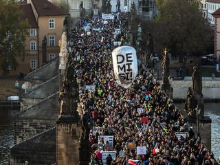 Thousands protest against Czech Prime Minister Andrej Babis during 29th anniversary of the Velvet Re