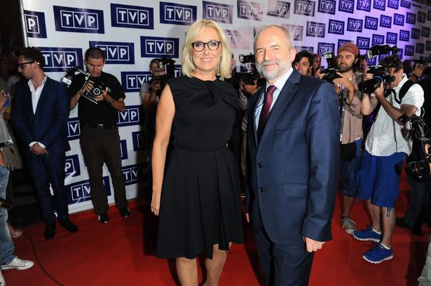 Agata Młynarska i prezes TVP Juliusz Braun
