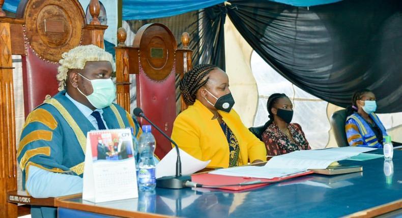 Kirinyaga Speaker Anthony Waweru with Governor Anne Waiguru during BBI debate