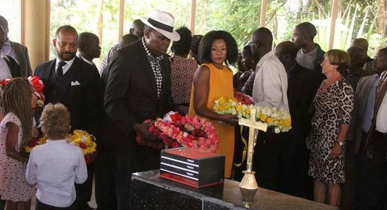 Eugene Wamalwa (centre) and Yvonne Wamalwa, widow of the late Vice President Kijana Wamalwa, during the late VP's memorial ceremony in 2015