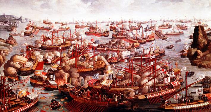 Battle of Lepanto, October 1571. Fleets of Spain, Venice and the Pope, under command of Don John Jua