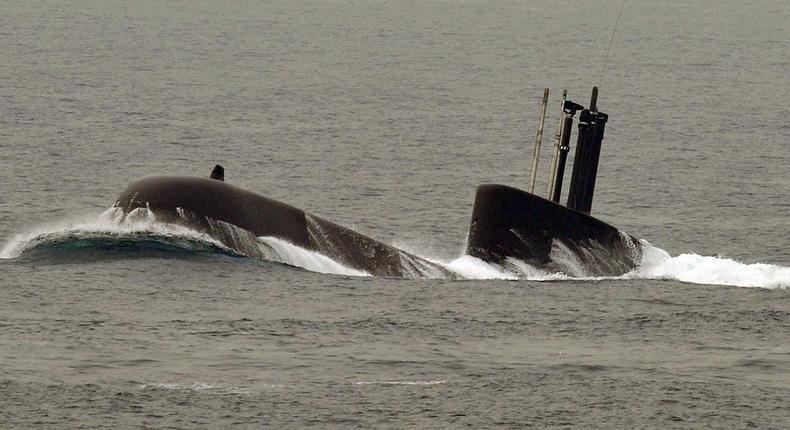 A South Korean Navy's Type 209-class submarine surfaces during the international fleet review near Busan, October 7, 2008.