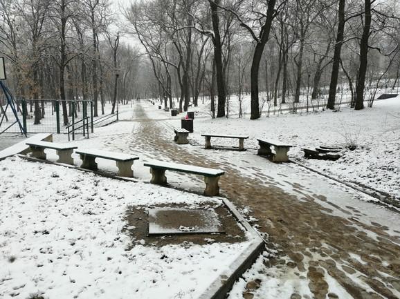 Sneg u parku na Banovom brdu