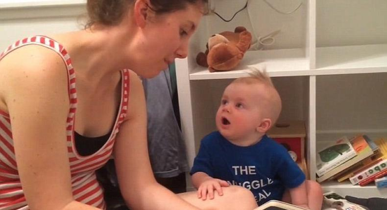 A few months old baby who loves literature cries every time a story ends