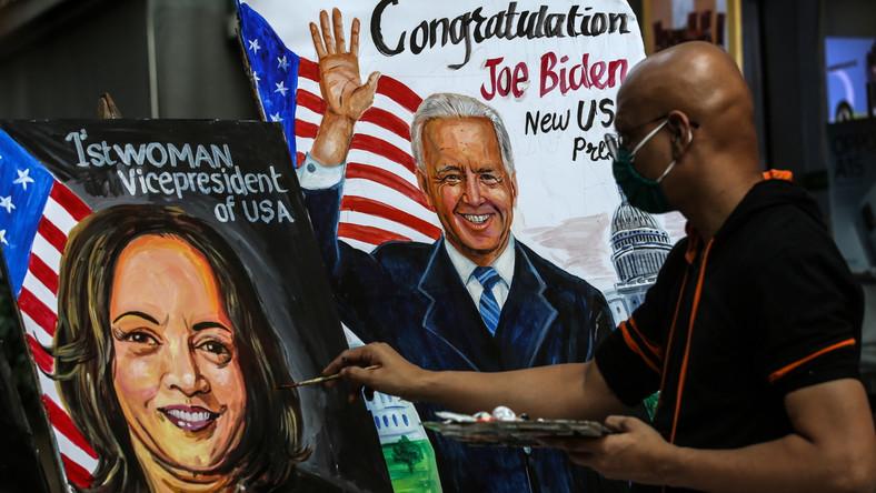 Hinduski artysta maluje portrety Kamali Harris i Joe Bidena