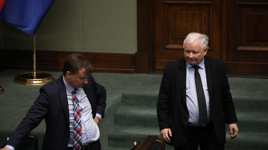 Zbigniew Ziobro i Jarosław Kaczyński w Sejmie (zdj. z 24 lipca)