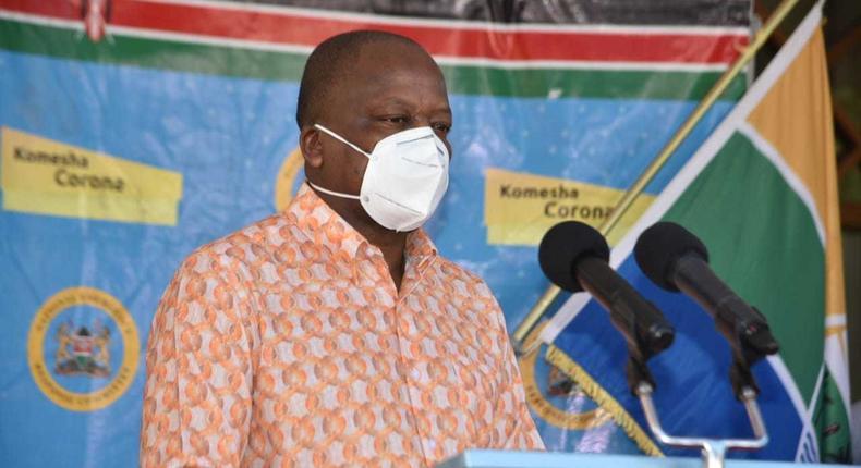 Health CS Mutahi Kagwe during a recent Covid-19 briefing