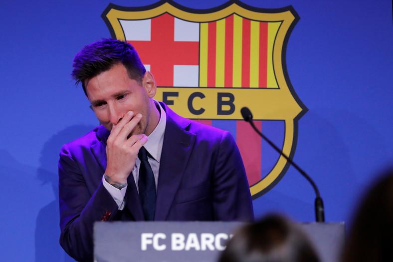 Lionel Messi podczas pożegnalnej konferencji prasowej