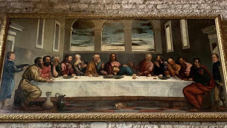 """""""Ostatnia wieczerza"""" autorstwa prawdopodobnie Tycjana w kościele w Ledbury"""