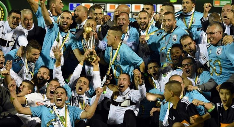 Algerian club Entente Setif celebrate in 2014 after becoming African champions for a second time Creator: FAROUK BATICHE
