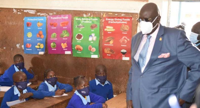 Education CS George Magoha at the Olympic Primary School, Kibra - Nairobi as in-person learning resumed on January 4, 2020