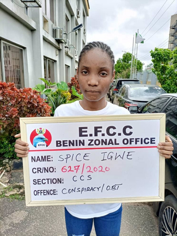 Dandy Spice Igwe was arrested in connection to her boyfriend's fraudulent activities [EFCC]