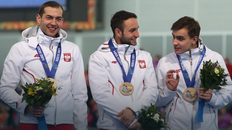 Od lewej: Zbigniew Bródka, Konrad Niedźwiedzki i Jan Szymański
