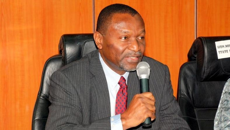 Minister of Budget and National Planning Senator Udoma Udo Udoma addressing the Management Staff during assumption of Office at Budget And National Planning.