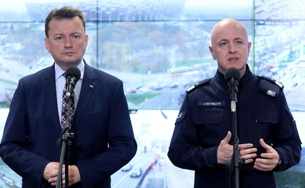 Minister spraw wewnętrznych i administracji Mariusz Błaszczak oraz komendant główny policji nadinsp. Jarosław Szymczyk