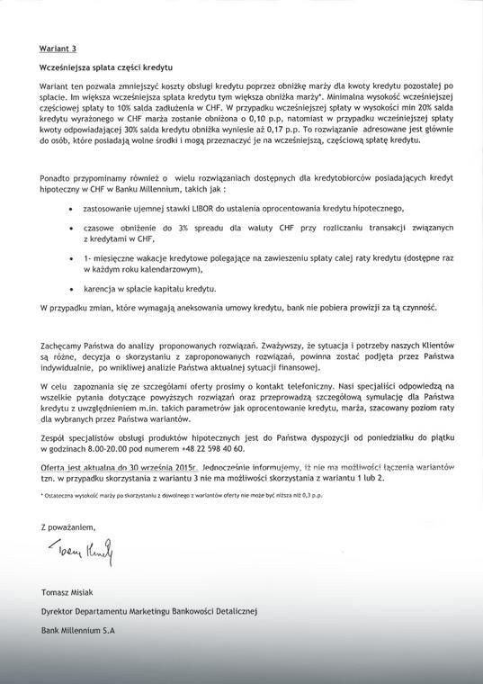 Pismo z Banku Millennium, str. 2