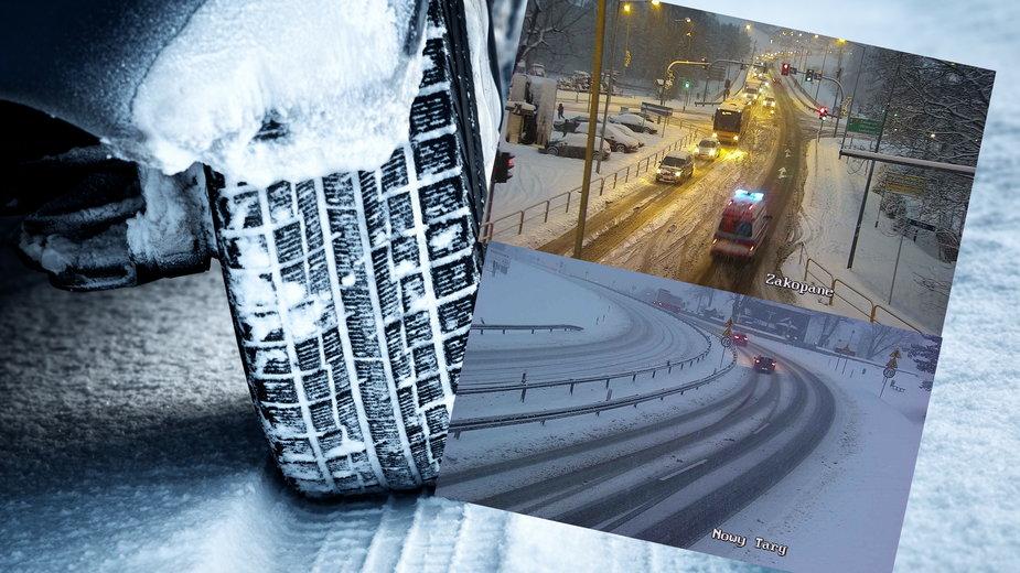 Zakopianka. Śnieżyca na autostradzie. Poważne utrudnienia dla kierowców