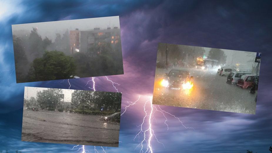 """Potężna burza przeszła nad Krakowem. Paraliż komunikacji, zalane osiedla. """"Nawałnica dekady"""""""