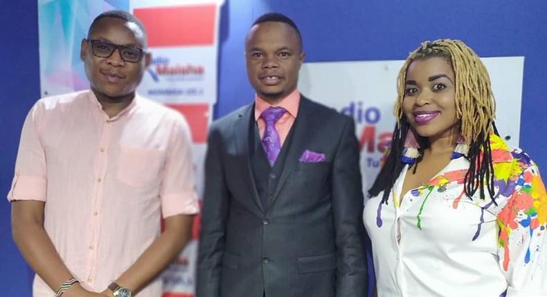 File image of Peter Mureithi Wangai(middle in a suit), the Founder and CEO of Goldenscape with employees of Standard Media Group on 19 August 2019