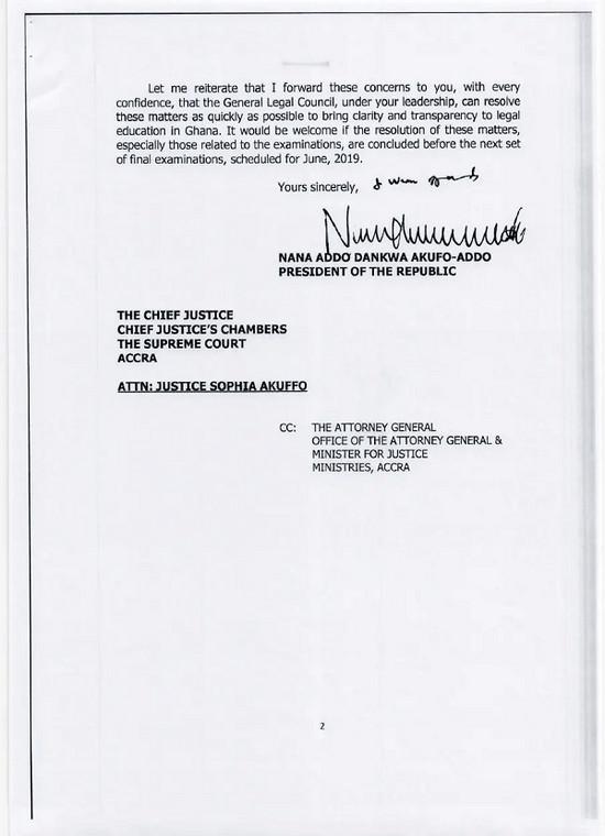 Nana Addo's letter to Sophia Akuffo
