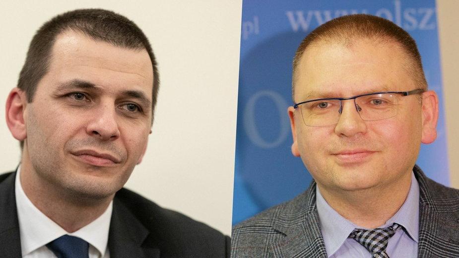 Dyrektor XXX LO w Warszawie Marcin Jaroszewski (L) i Maciej Nawacki, prezes olsztyńskiego Sądu Rejonowego i członek nowej KRS (P)
