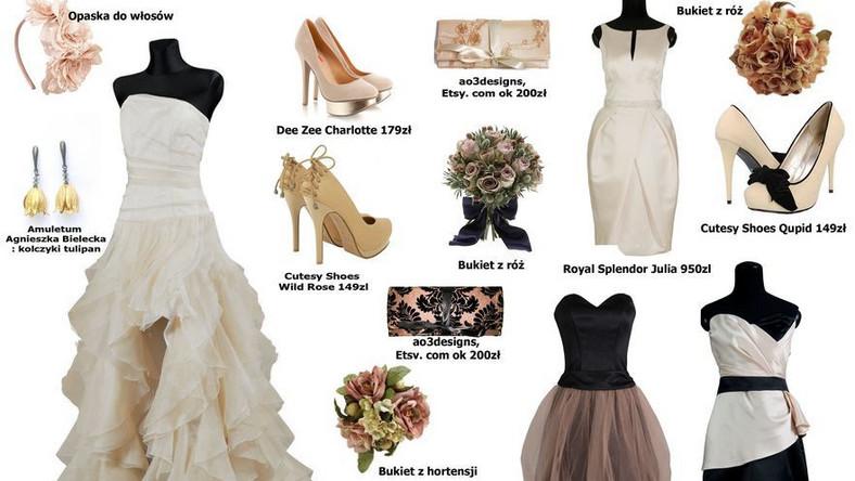 Stylizacja ślubna w kolorze beżowym
