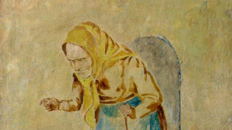 """Bruno Schulz, """"Staruszka"""" (1942) - fresk z Willi Landaua w Drohobyczu"""