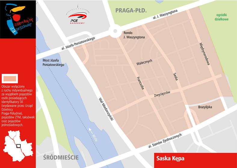 W związku z imprezą na Narodowym zamknięta będzie Saska Kępa