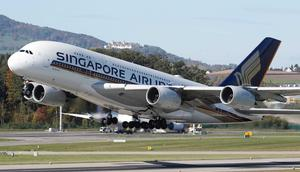 Singapore Airlines Airbus A380-800 takes off from Zurich airport