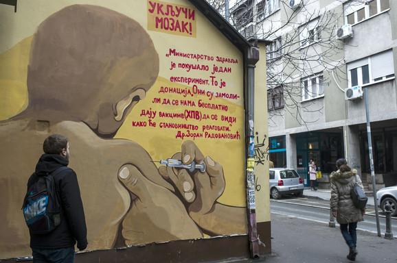 Mural u Golsvordijevoj ulici: Reči doktora izvučene su iz konteksta, tako da svako ko pročita a ne zna celu priču, stiče pogrešan zaključak