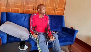 Gatundu South MP Moses Kuria at the Karen Hospital where he has been receiving treatment for severe burns