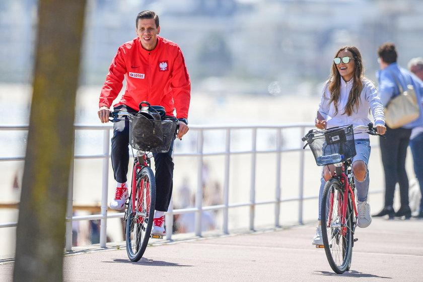 Marina i Wojtek na rowerach