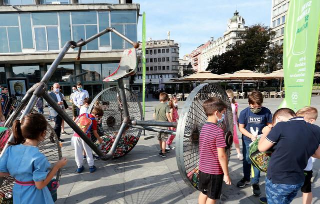 Tricikl je postavljen na Trgu republike