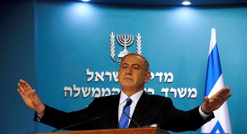Israeli Prime Minister Benjamin Netanyahu delivers a speech in his Jerusalem office, December 28, 2016.