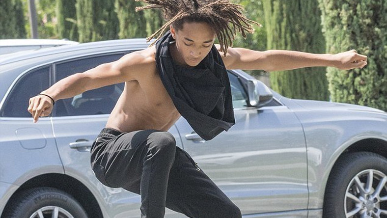 Jaden Smith goes shirtless on the streets of Calabasas, California