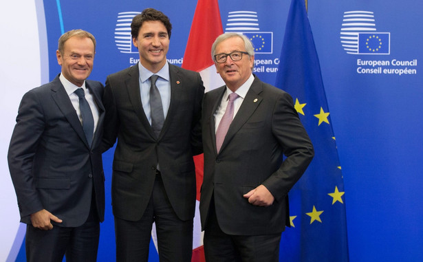 Justin Trudeau, Jean-Claude Juncker i Donald Tusk